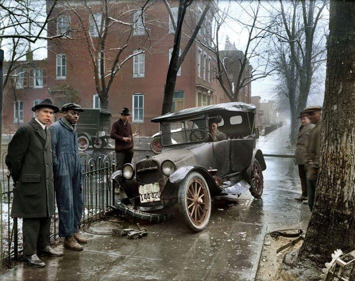 Washington DC'de araç kazası - 1921.