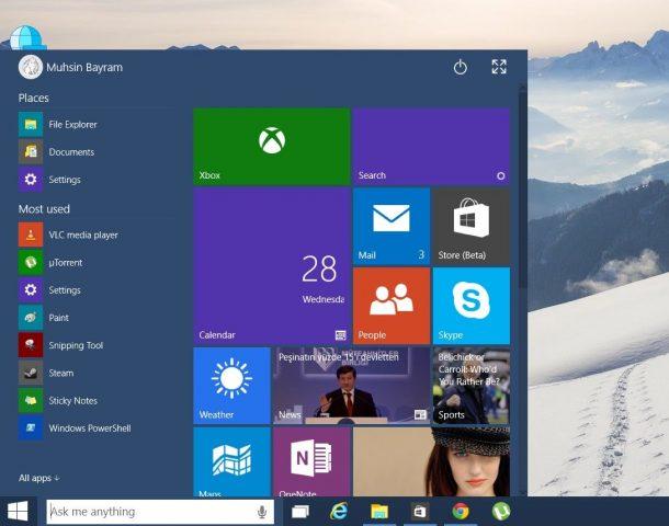 windows 10 başlat