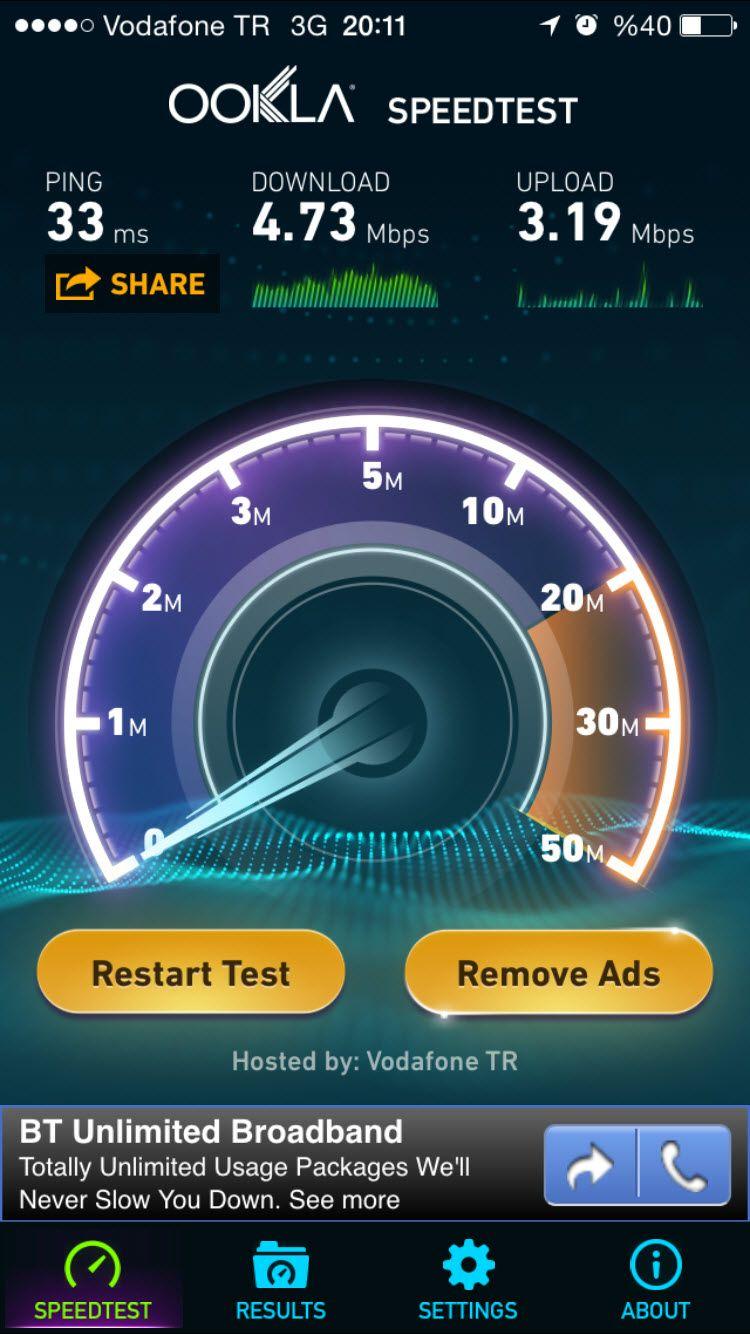 Vodafone 3G hız testi sonuçları - Cep telefonundaki hız, modemdeki hızın yarısı...