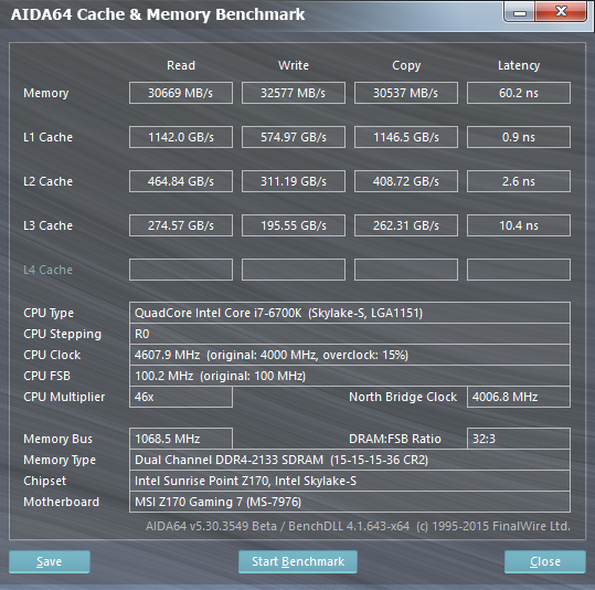 6700K Cache Memory Benchmark