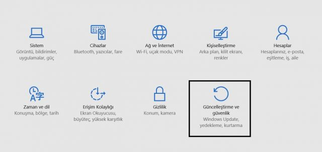 windows 10 ayarlar güncelleştirme