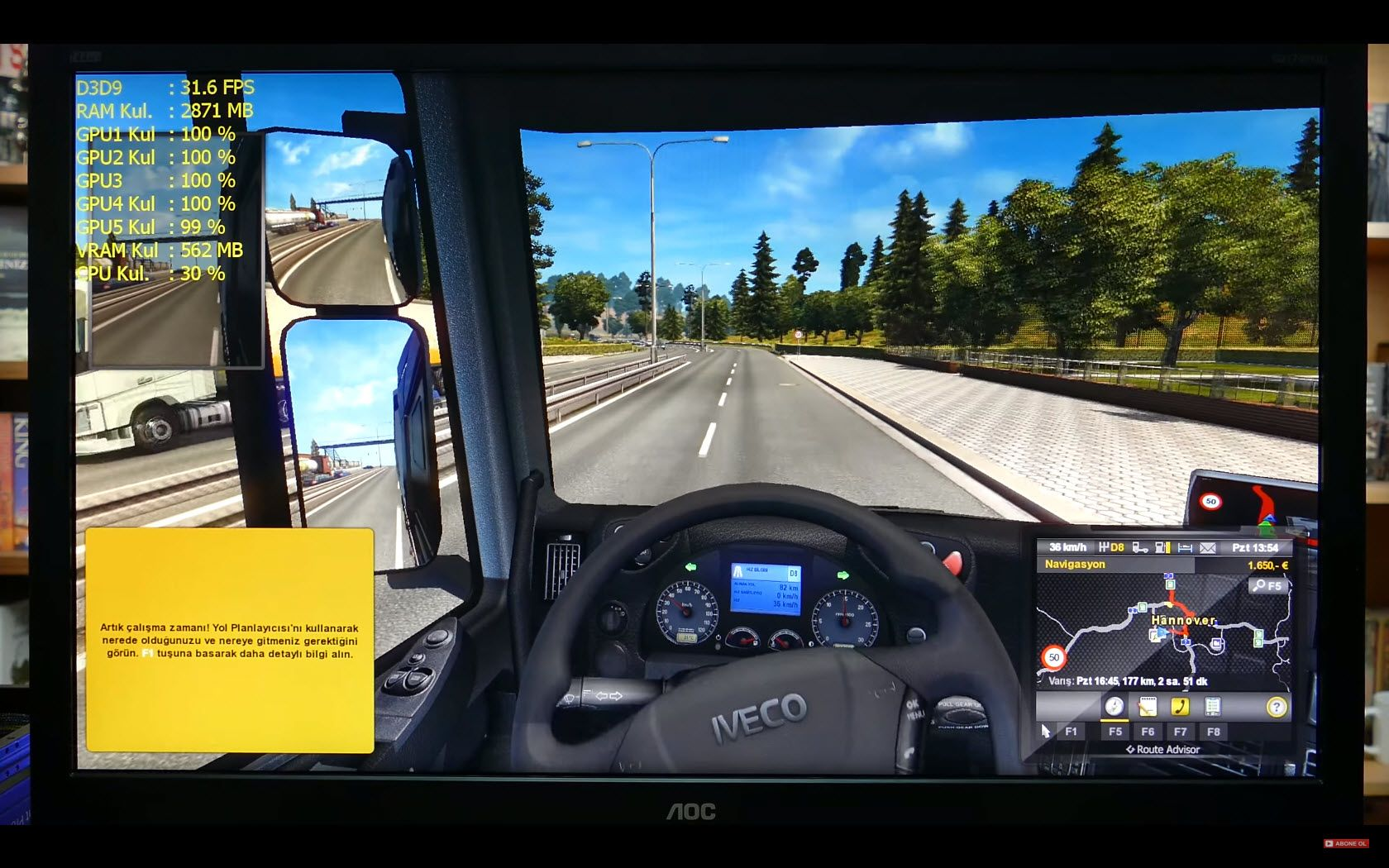 AMD A10-7870K Euro Truck Simulator 2 Performans Testi