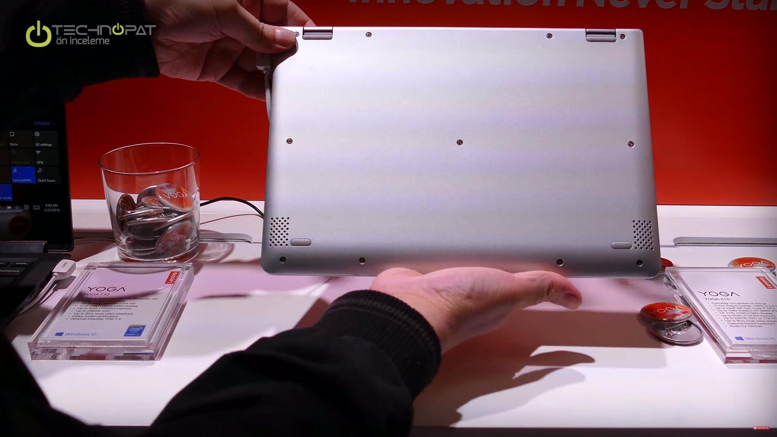 Lenovo Yoga 510:Alt görünüm bir Ultrabook
