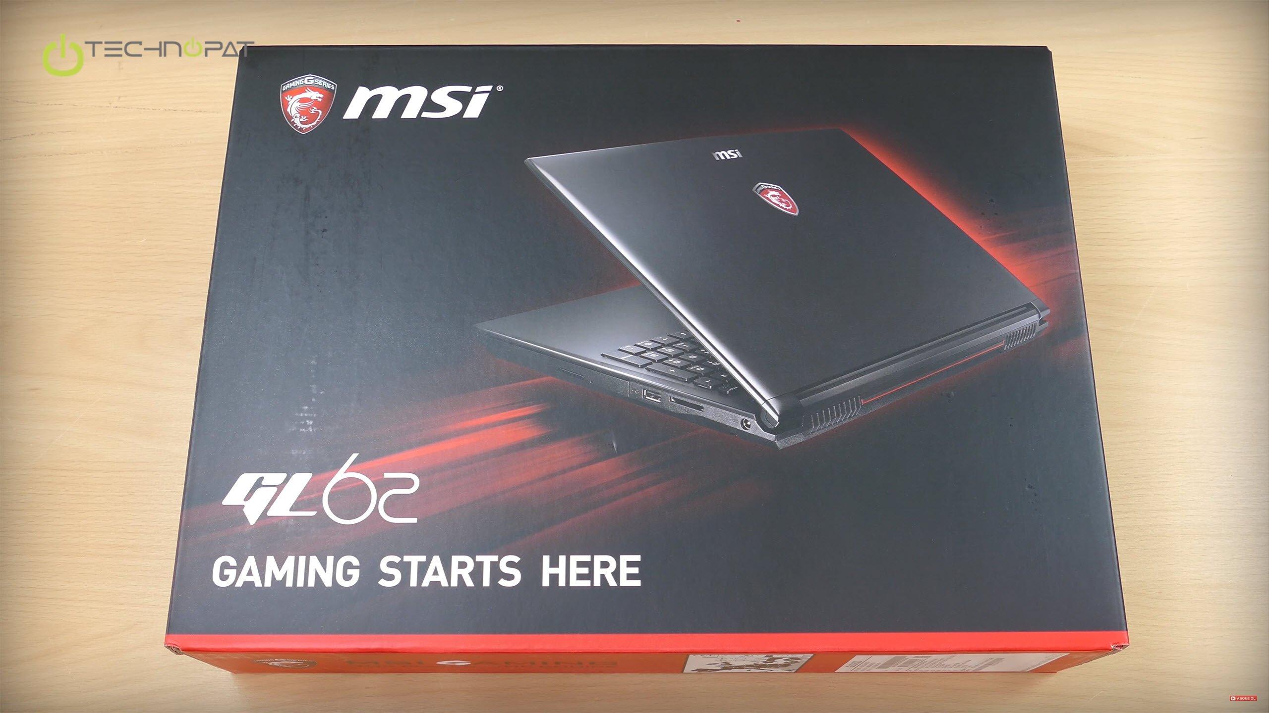 MSI GL62 6QD Dizüstü Bilgisayar Fiyatı ve Kutu İçeriği