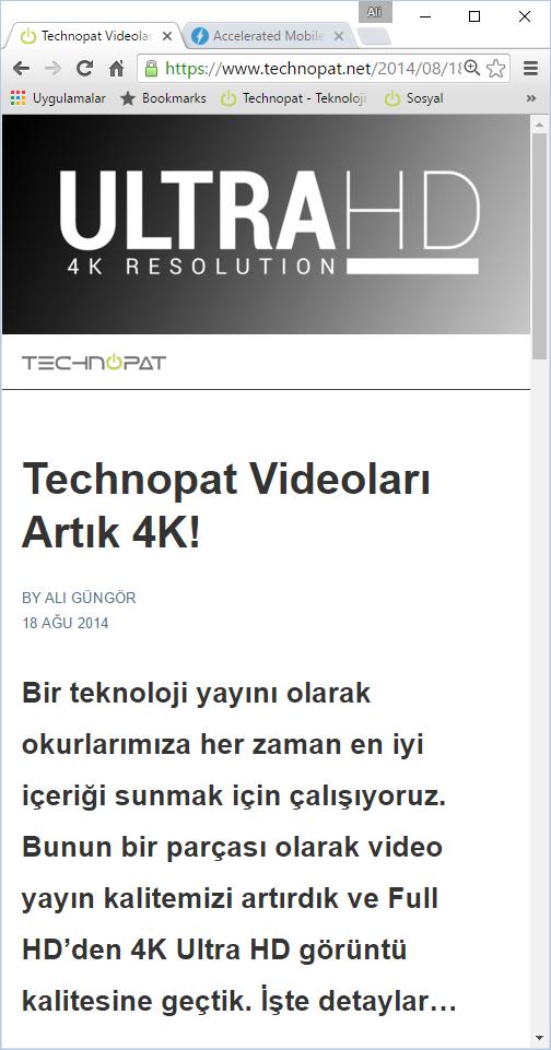 Örnek Technopat.net AMP: Mobil Hızlandırılmış Sayfa