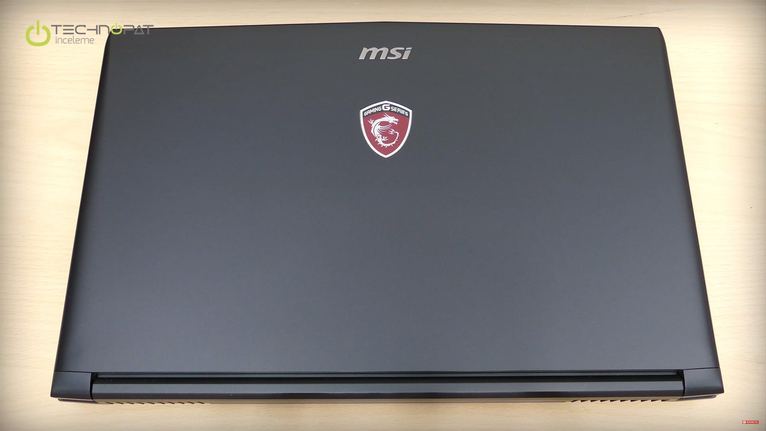 MSI GL62 6QD Oyuncu Dizüstü Bilgisayarı İncelemesi: Üst kısım