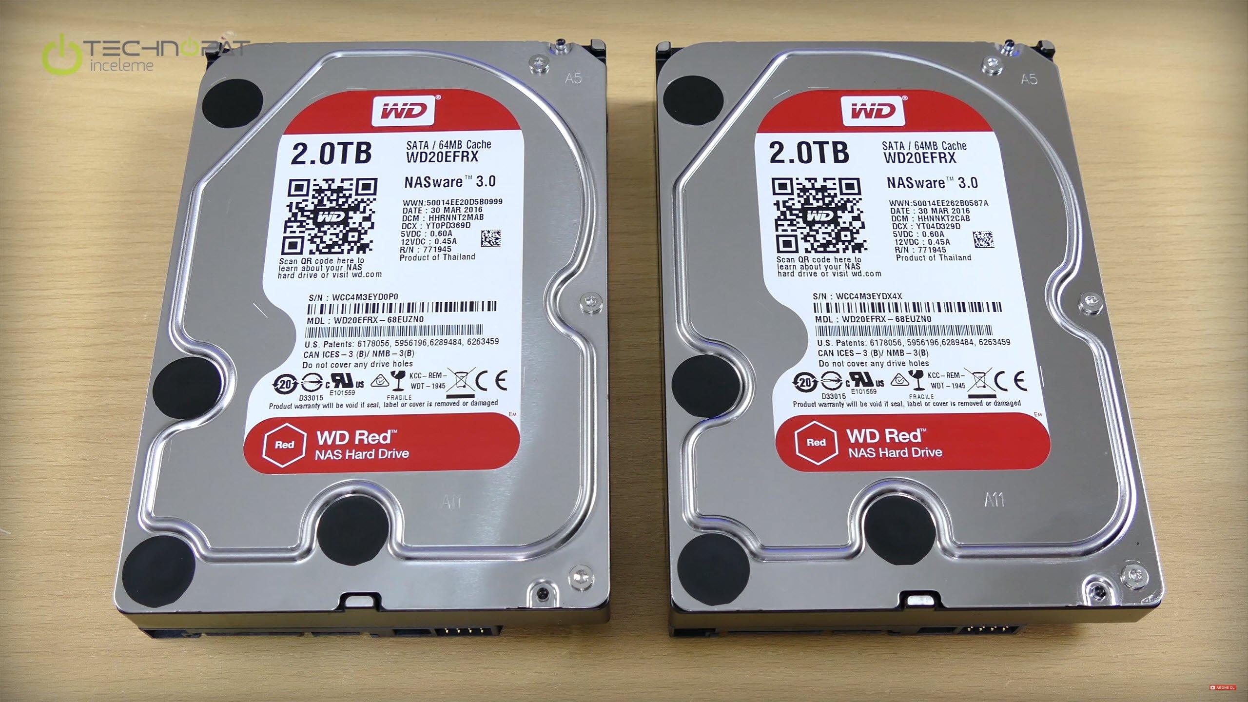 Western Digital RED NAS için özel sabit diskler. WD20EFRX disklerimizin her biri 2 Terabyte ve NASware 3.0 destekliler.