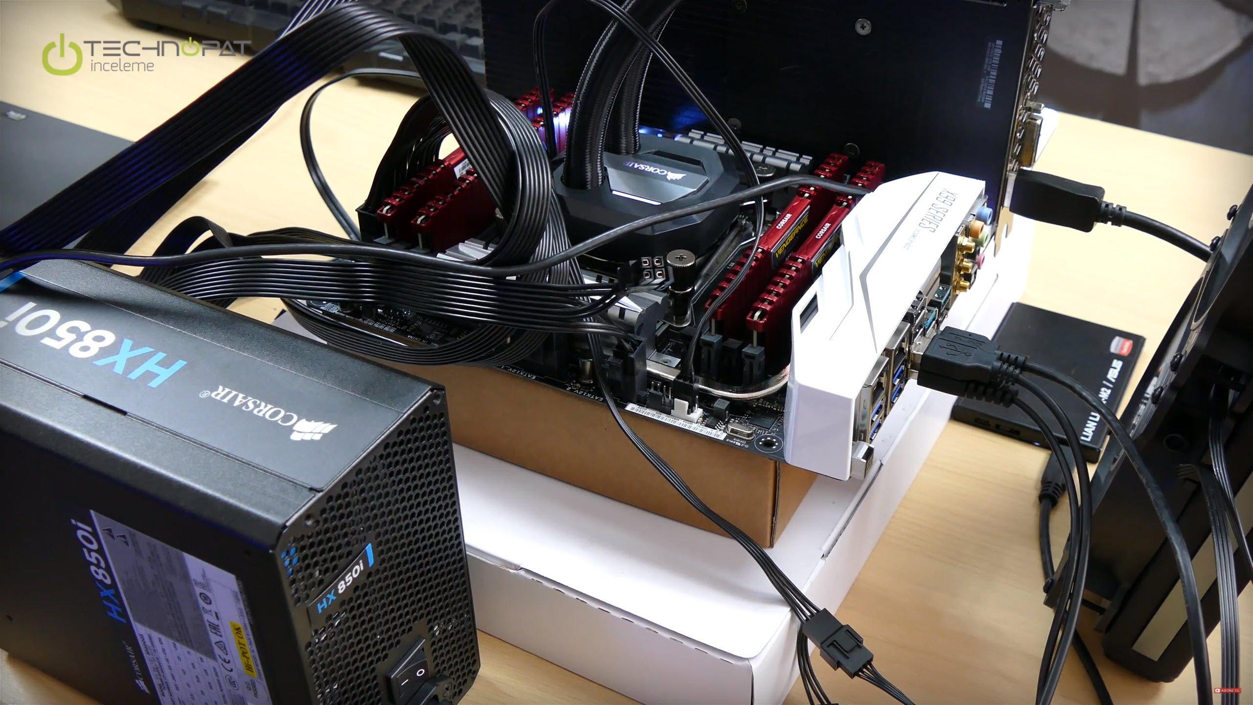 Intel Core i7 6900K İşlemci İncelemesi için kurduğumuz uzay montaj test düzeni