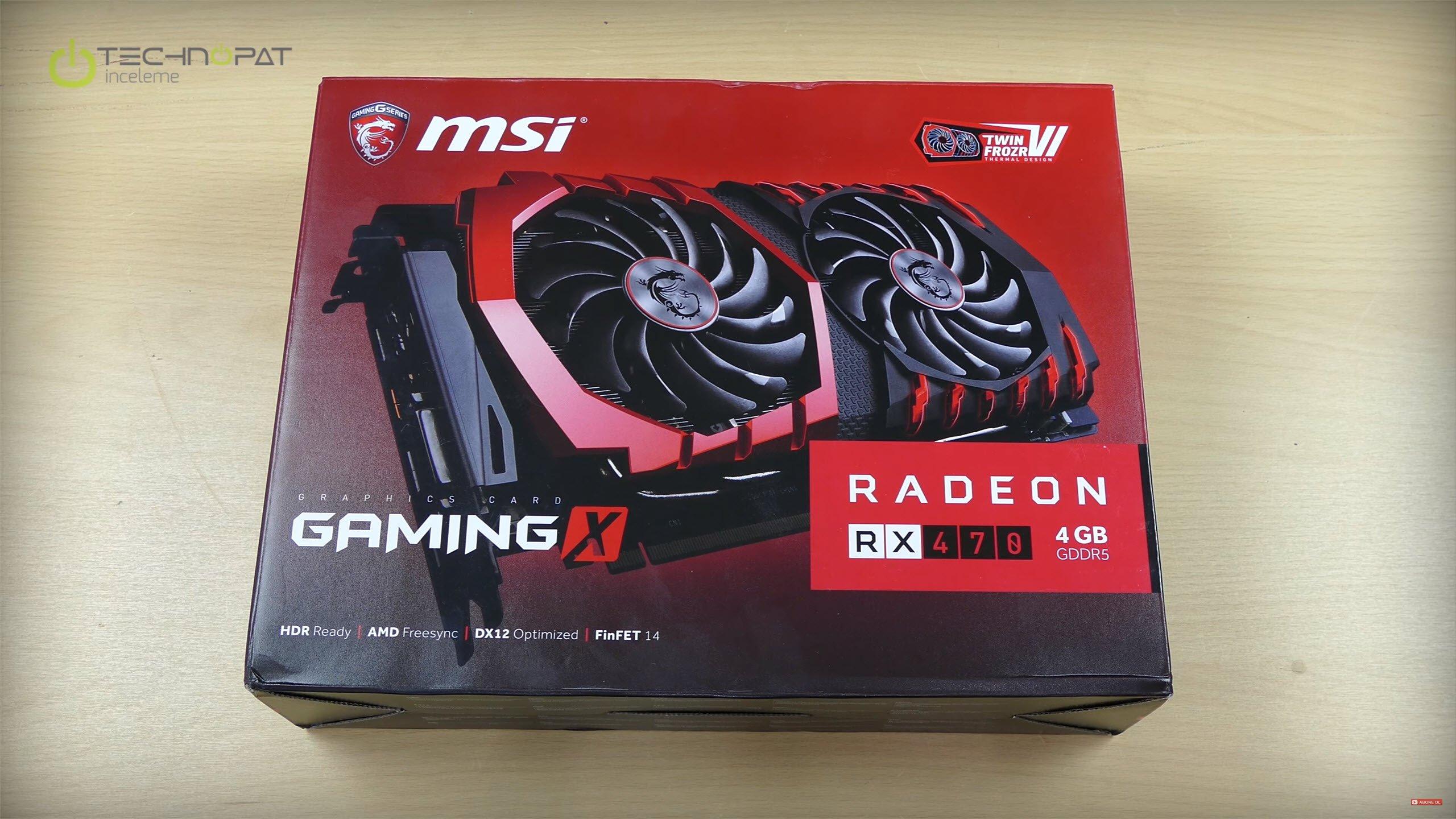 MSI RX 470 Gaming X 4G İncelemesi: Kutu