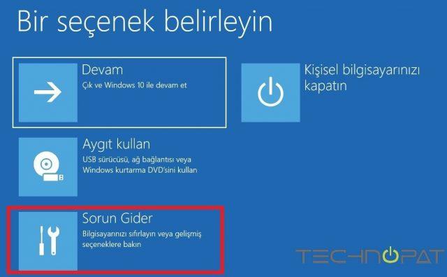 Windows 10 gelişmiş başlangıç