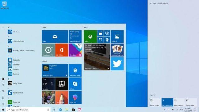 Windows 10 arayüz değişiklikleri