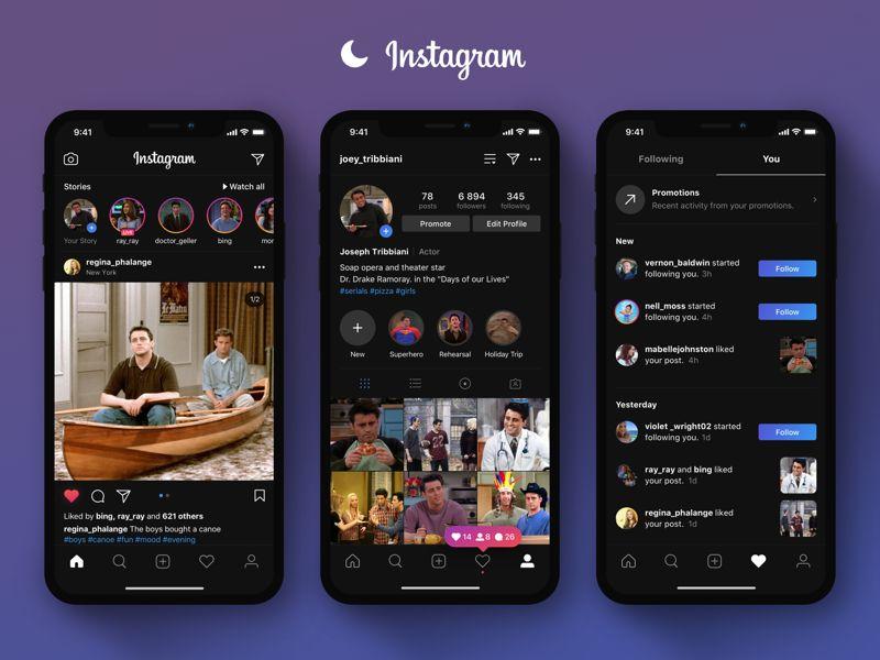 iOS için Instagram karanlık mod