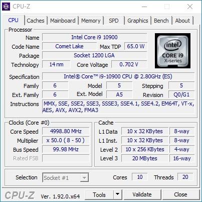 Core i9 10900 CPU-Z