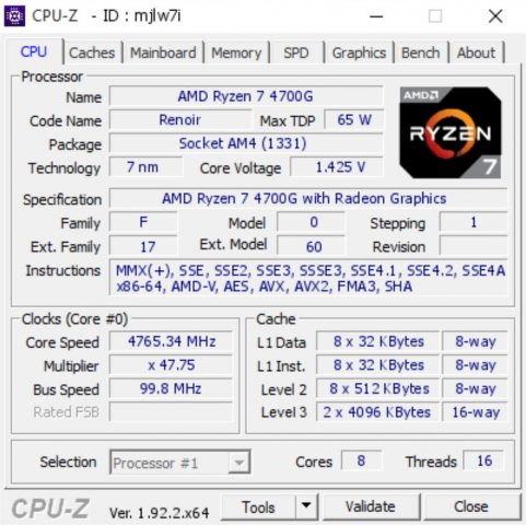 Ryzen 7 4700G CPU-Z