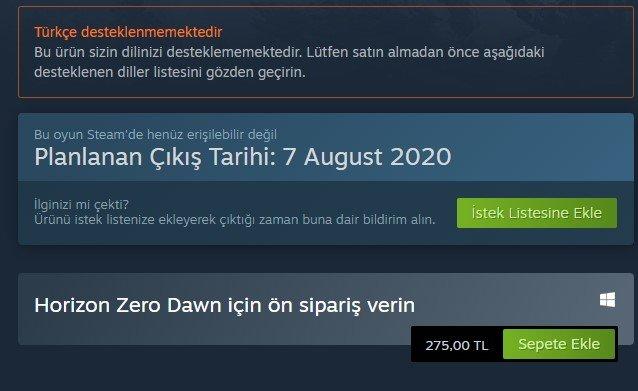 Horizon Zero Dawn Steam fiyatı