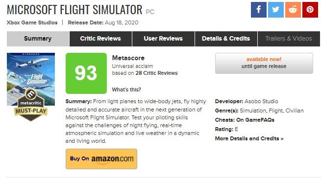 Microsoft Flight Simulator 2020 inceleme puanları
