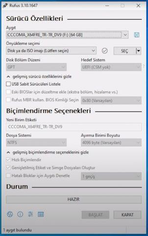 UEFI Windows 10 USB Hazırlama Aracı Rufus