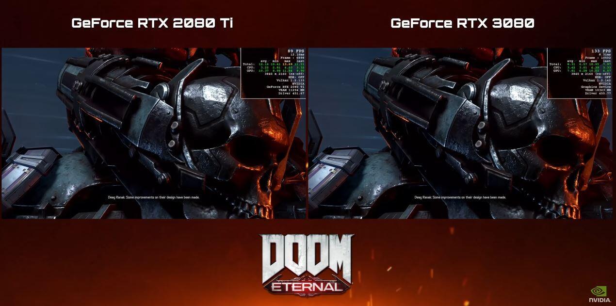 RTX 3080 ve RTX 2080 Ti 4K Doom Eternal Testi
