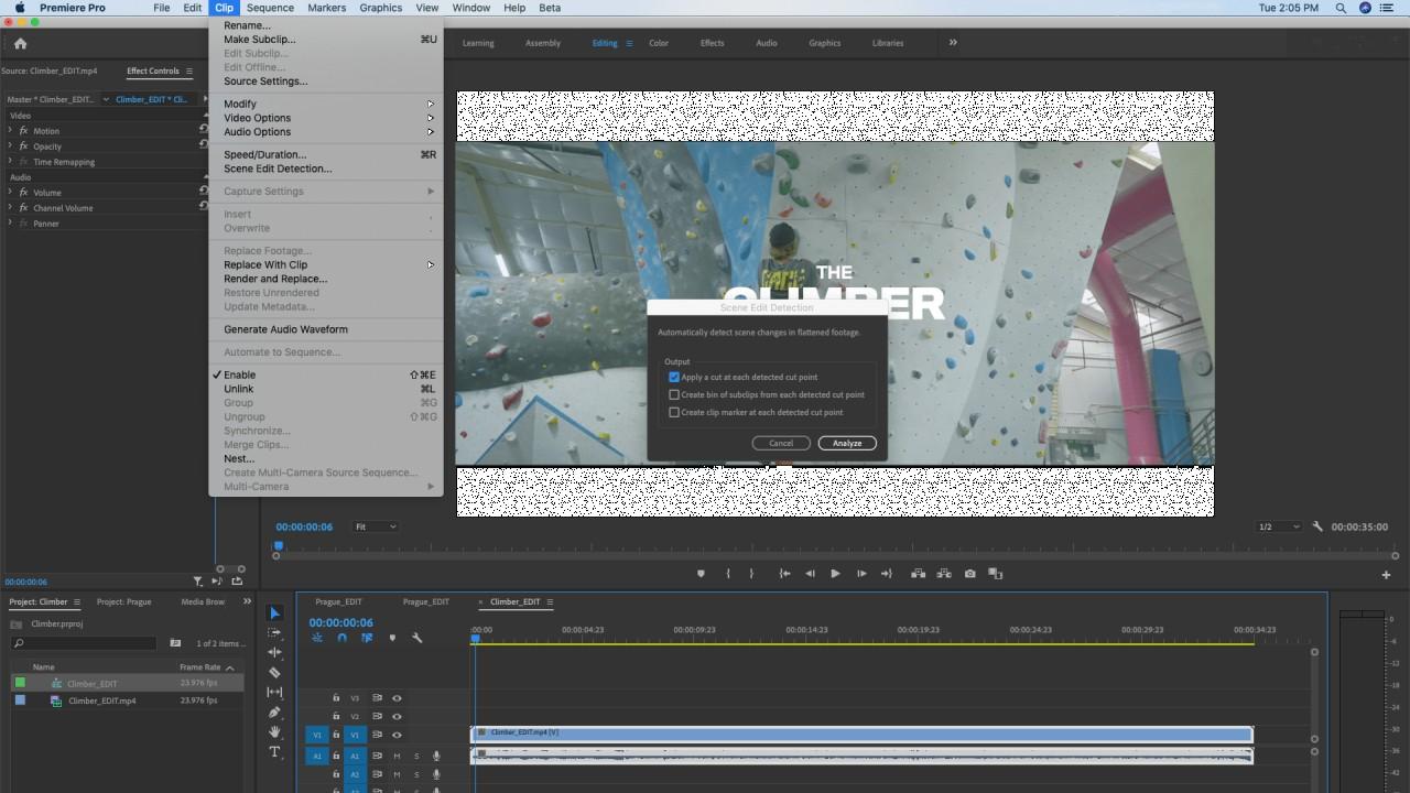 Adobe Premiere Pro Sahne Düzenleme Algılama