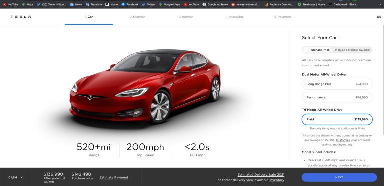 Tesla Model S Plaid fiyatı