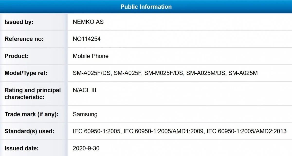 Samsung Galaxy A02 ve M02