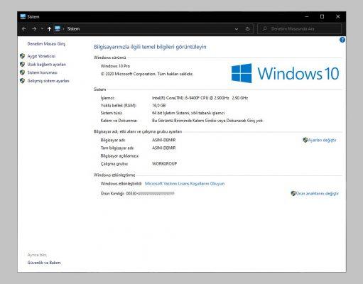 windows 10 sistem paneli