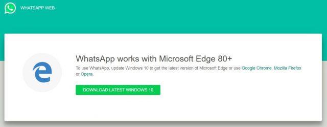 Microsoft Edge WhatsApp Web