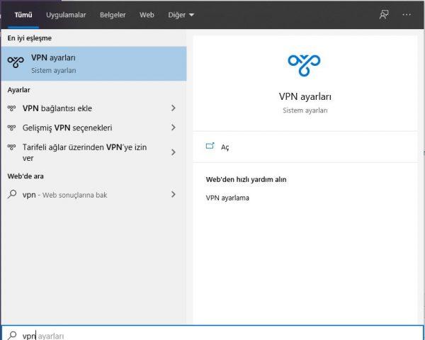 Windows 10 VPN kurulum rehberi