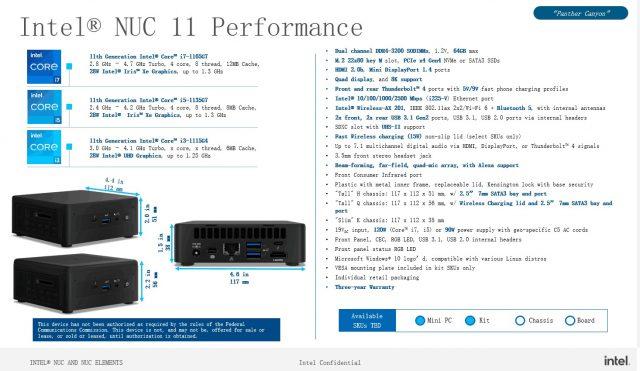 Intel NUC 11 Performance ve PRO Özellikleri