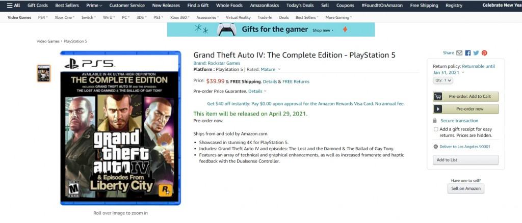 GTA 4 PlayStation 5