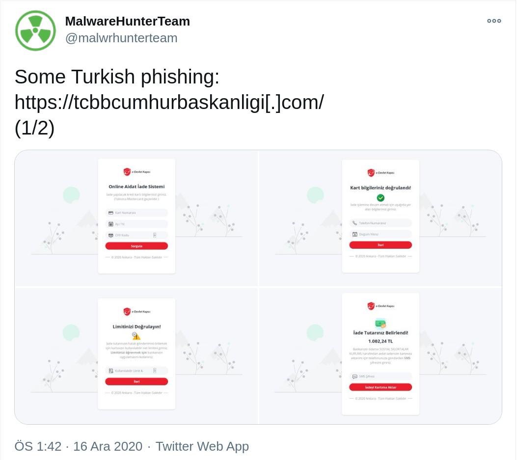 Türkiye hedefli, oltalama, sahte