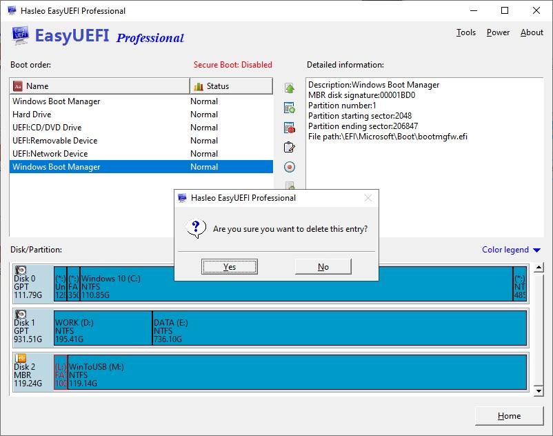 UEFI Önyükleme Seçeneği Silme