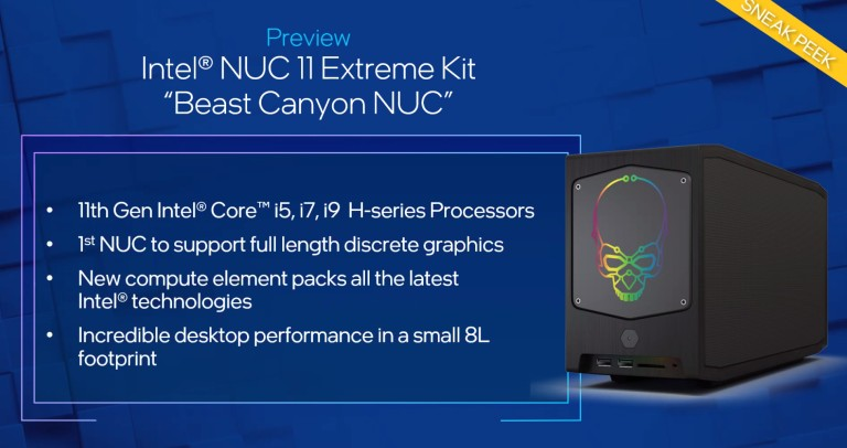 Especificaciones de Intel NUC 11 Extreme Beast Canyon Mini PC
