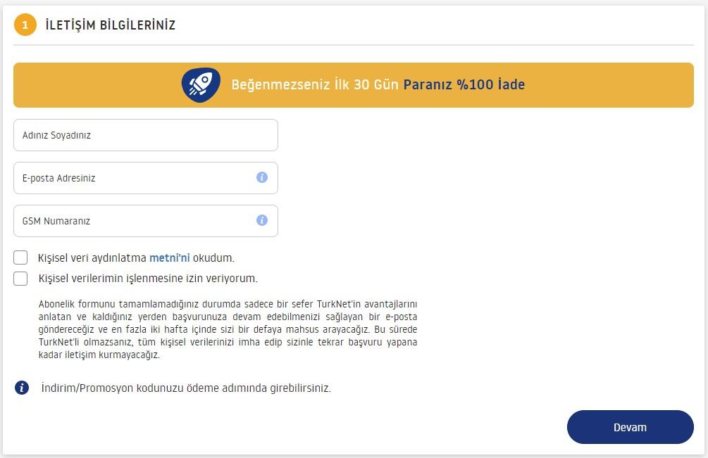 turknet başvuru formu - iletişim bilgileri