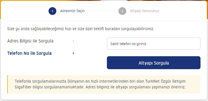 turknet sabit telefon numarası ile altyapı sorgulama